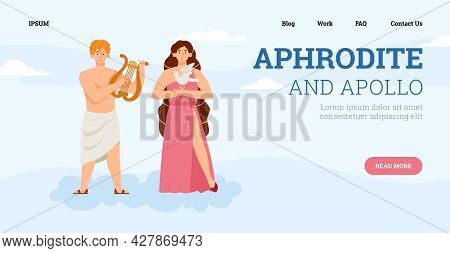 Vector Webpage With Goddess Beauty Aphrodite And God Light And Patron Arts Apollo
