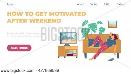 Web Page With Lazy Young Woman Lying On Couch And Watching Tv At Home.