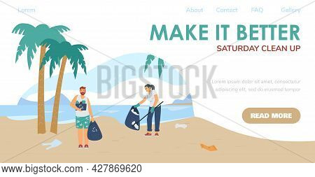 Web Banner With Young People Clean Up Trash At Ocean Beach Or Sea Coast.