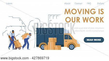 Loaders Or Porters Services For Moving And Relocation, Flat Vector Illustration.