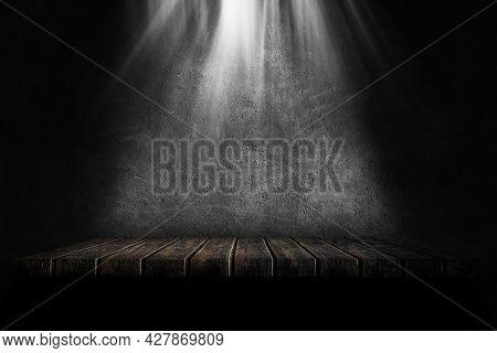 Empty Space Studio Dark Room Of Wooden Shelf Grunge Texture Background With Spotlight.