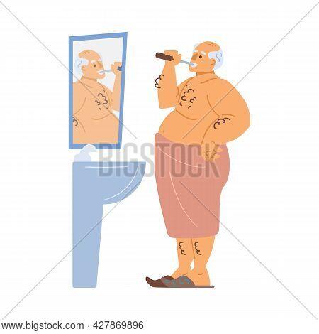 Older Man Is In Bathroom Brushing His Teeth. Vector Flat Cartoon Illustration Of Old Mans Character