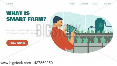Smart Farm System And Advanced Technology Web Banner, Flat Vector Illustration.