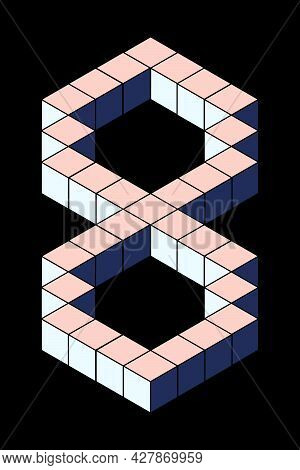 Number 8 From Cubes Isolated On Black Background. Pastel Pink And Blue Colors. Pixel, 8 Bit, Isometr
