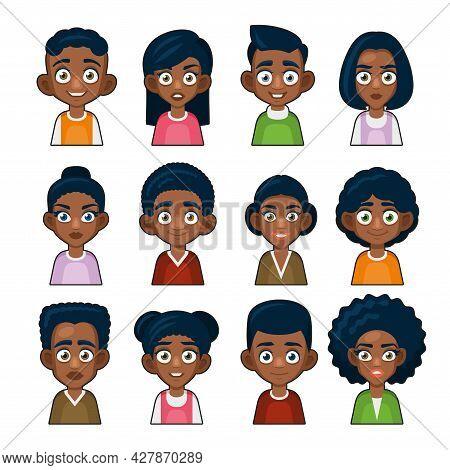 Black African American Or Hindu People Avatar. Cartoon Userpic Icon. Vector