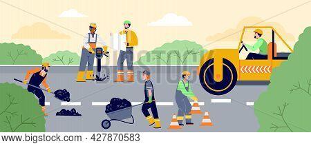 Road Construction Workers Paving Asphalt, Repair Road Surface, Sidewalks
