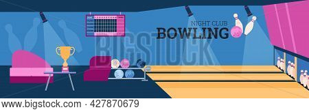 Illustration Of Design Interior Of Bowling Club. Vector Flat Cartoon Illustration Bowling Alley, Tou