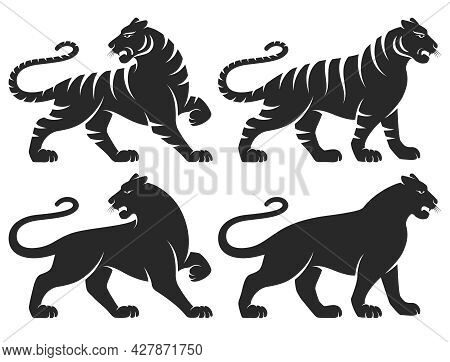 Set Of Stylized Silhouettes Of Standing In Different Poses Tigers. Isolated On White Background. Tig