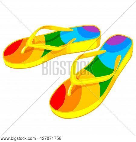 Rubber Colorful Flip Flops. Comfortable Beach Footwear. Vector Illustration.