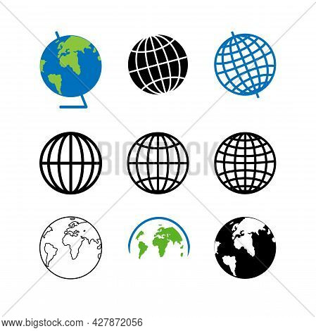 Set Of Icons For The Globe Of The Planet Earth. Parallels And Meridians On The Black Icon.
