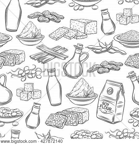 Soy Product Outline Seamless Pattern. Background With Drawn Monochrome Soy Sprouts, Tofu Skin, Coagu