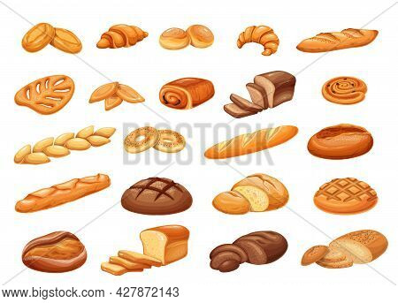 French Bread Bakery Product Set, Colored Vector Illustration. Bake Roll, Pastry And Slices Breads. T