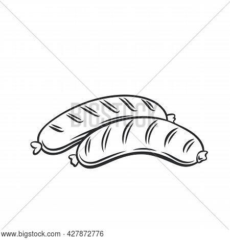 Grilled Sausages Outline Vector Icon, Drawing Monochrome Illustration. Fried Bratwurst Pork Sausage,