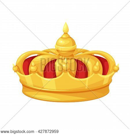Golden Red Velvet Crown. First Place Winner, Royal Golden Jewelry, Wealth. Isolated Vector Icon Of G