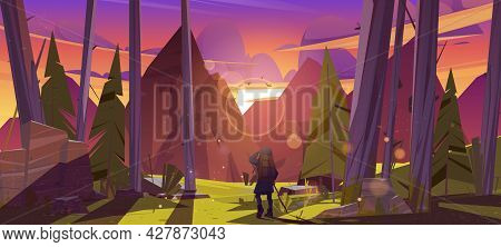 Traveler At Forest With Mountains View At Sunset. Travel Journey, Adventure. Tourist With Backpack S