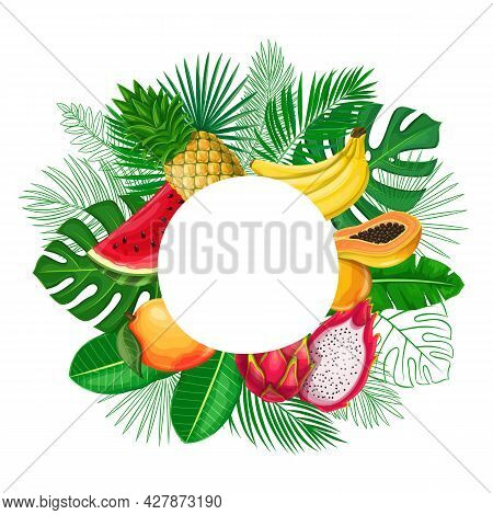 Tropical Leaves With Exotic Fruit Frame Copy Space. Jungle Exotic Leaf Cut Round Sale Poster With Ou