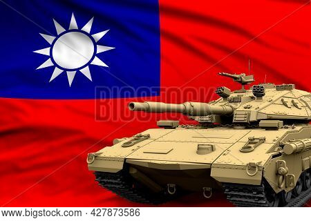 Taiwan Province Of China Modern Tank With Not Real Design On The Flag Background - Tank Army Forces