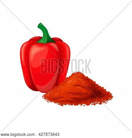 Pepper, Paprika Or Capsicum. Raw Red Bell Pepper, Vegan Food. Aromatic Seasoning Ingredient. Isolate
