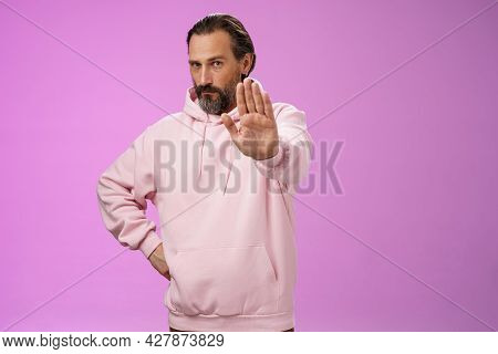 Stand Right There. Portrait Serious-looking Bossy Adult Bearded Father Extend Arm Stop Taboo No Gest