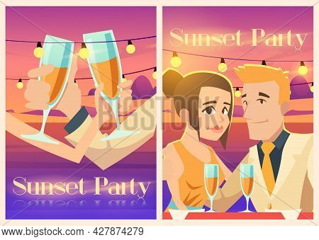 Sunset Party Posters With Happy Couple With Wine Glasses On Sea Coast. Vector Invitation Flyers Of E