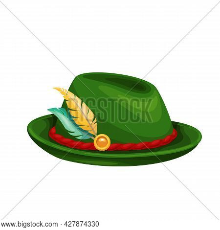 Green Oktoberfest Hat With Feather. Traditional Mans Beer Festival Oktoberfest Folk Outfit. Vector I