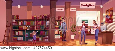 Visitors In Bookstore, Interior With Child And Adult People Choose Books On Shelves, Discuss Bestsel