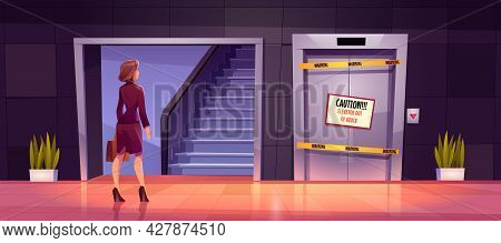 Businesswoman Stand Front Of Ladder And Broken Lift Doors Out Of Order. Unequal Career Opportunities