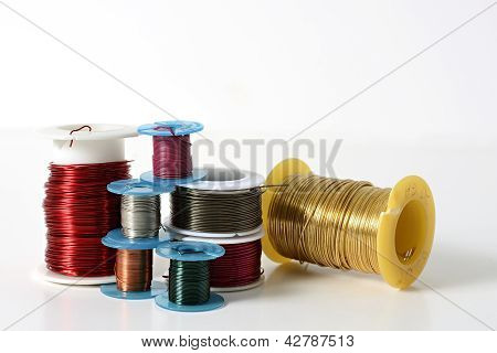 Collection Of Jewelry Wire On Spools