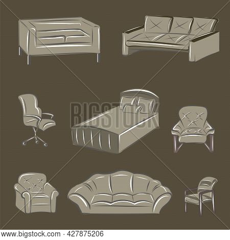 Nude Pieces Of Furniture, Beige Sofa, Brown Soft Chairs, Bed, Office Chair, Armchair. Interior. Inte