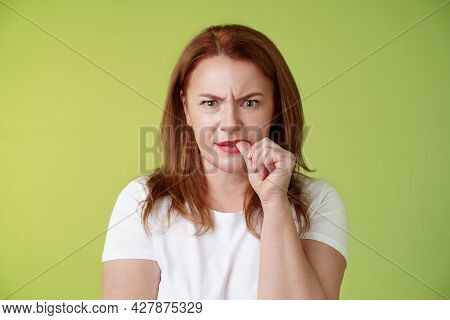 Confused Puzzled Redhead Middle-aged Mother Perplexed Look Troubled Solving Troublesome Situation Po