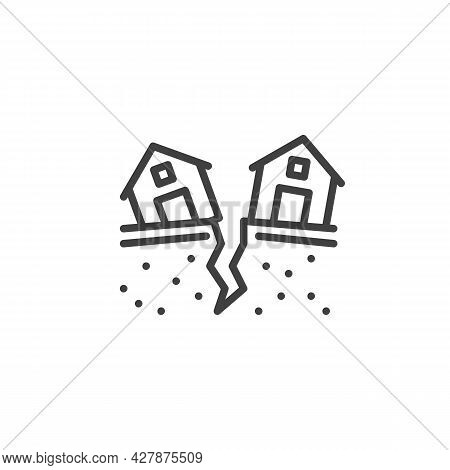 Earthquake Damage House Line Icon. Linear Style Sign For Mobile Concept And Web Design. Earthquake D