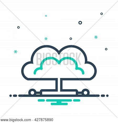 Mix Icon For Cloud Network Computing Server Technology Cloud-database Database Storage Technology Co