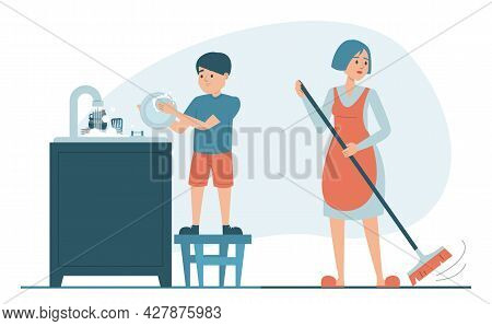 Mother And Son Cleaning Kitchen Vector Isolated