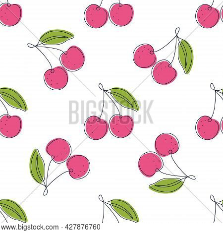 Seamless Pattern With Cherries On A White Background. Summer Pattern For Printing On Fabric Or Paper
