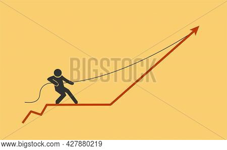 Person Stands On Graph And Pulling It. Stock Vector