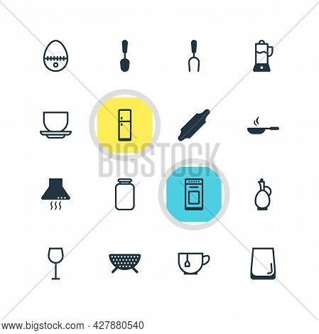 Vector Illustration Of 16 Kitchenware Icons. Editable Set Of Spoon, Juicer, Skillet And Other Icon E