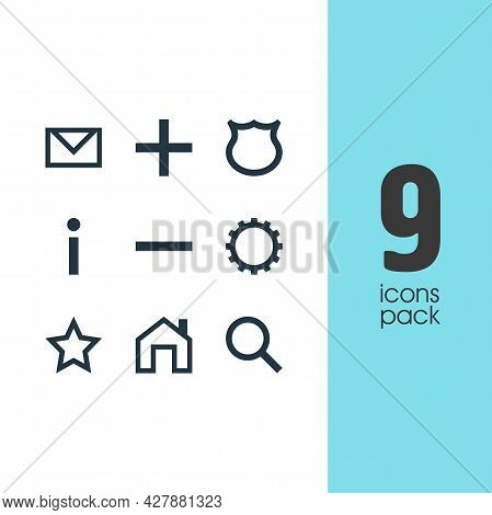 Vector Illustration Of 9 Interface Icons. Editable Set Of Homepage, Remove, Gear And Other Icon Elem