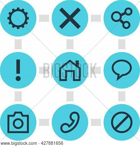 Vector Illustration Of 9 User Icons. Editable Set Of Homepage, Share, Warning And Other Icon Element