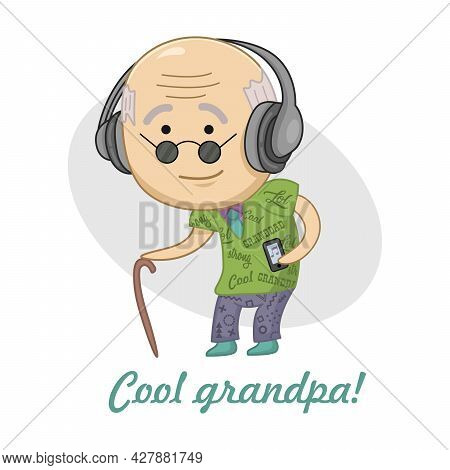 Cool Chibi Grandfather In Fashionable Clothes Listens To Music On Headphones. Funny Party Sticker.