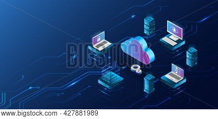 Abstract Datacenter, Network System. Web Hosting Vector Banner. Isometric Cloud Computing, Media Ser