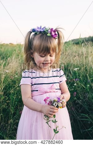 A Cute Girl With Flowers In Her Hair Stands In The Middle Of The Field In A Pink Dress. Baby In A Fl