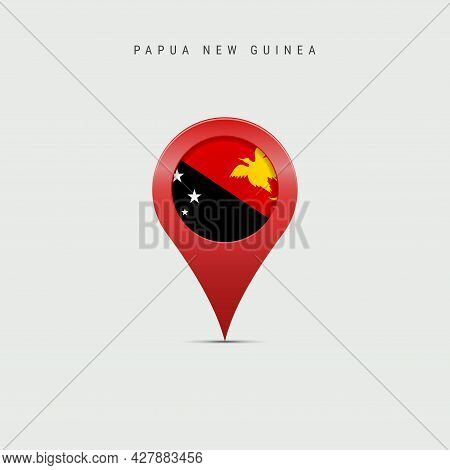 Teardrop Map Marker With Flag Of Papua New Guinea. Png Flag Inserted In The Location Map Pin. 3d Vec