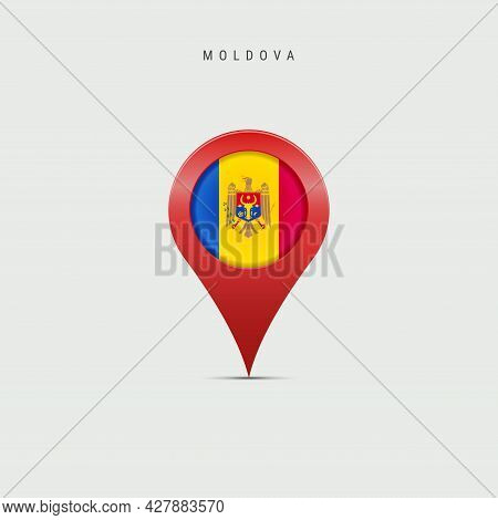 Teardrop Map Marker With Flag Of Moldova. Moldavian Flag Inserted In The Location Map Pin. 3d Vector