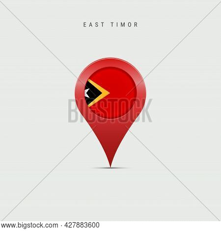 Teardrop Map Marker With Flag Of East Timor. Timor-leste Flag Inserted In The Location Map Pin. 3d V