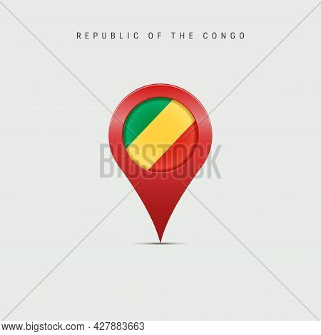 Teardrop Map Marker With Flag Of Republic Of The Congo. Congolese Flag Inserted In The Location Map