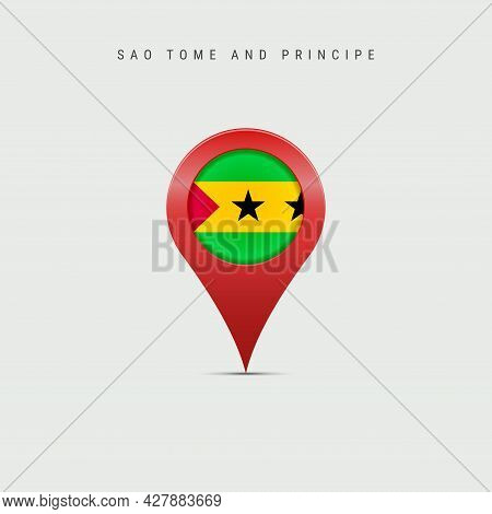 Teardrop Map Marker With Flag Of Sao Tome And Principe. Saint Thomas And Prince Flag Inserted In The