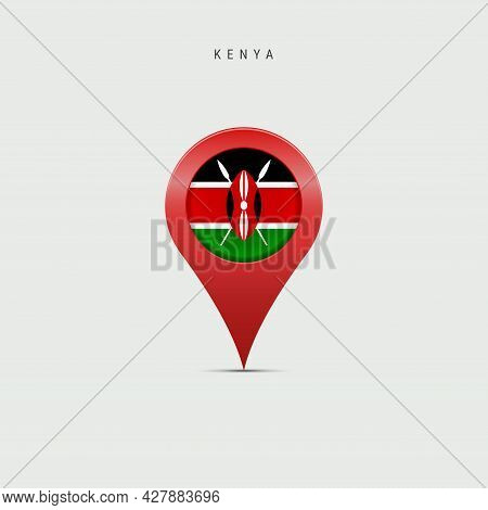 Teardrop Map Marker With Flag Of Kenya. Kenyan Flag Inserted In The Location Map Pin. 3d Vector Illu