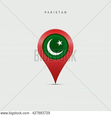 Teardrop Map Marker With Flag Of Pakistan. Pakistani Flag Inserted In The Location Map Pin. 3d Vecto