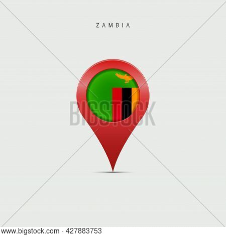 Teardrop Map Marker With Flag Of Zambia. Zambian Flag Inserted In The Location Map Pin. 3d Vector Il