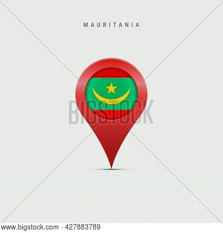 Teardrop Map Marker With Flag Of Mauritania. Mauritanian Flag Inserted In The Location Map Pin. 3d V